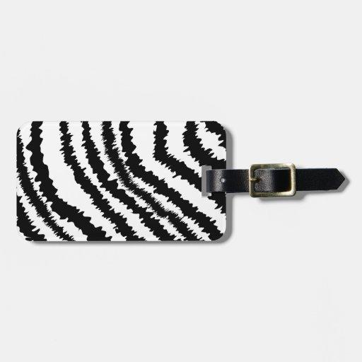 Modelo negro del estampado de zebra etiqueta para maleta