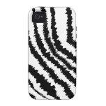 Modelo negro del estampado de zebra iPhone 4 carcasa
