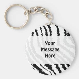 Modelo negro del estampado de zebra llaveros