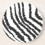 Modelo negro del estampado de zebra posavaso para bebida