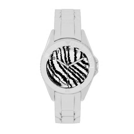 Modelo negro del estampado de zebra reloj