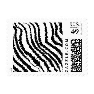 Modelo negro del estampado de zebra sello postal