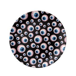 Modelo negro del globo del ojo platos de cerámica