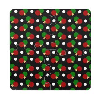 Modelo negro del ping-pong posavasos de puzzle
