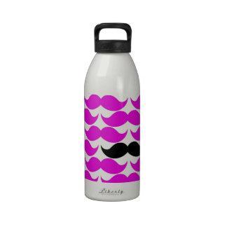 Modelo negro del rosa del bigote del manillar botella de agua reutilizable