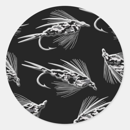 Modelo negro del señuelo de la pesca con mosca de pegatina redonda