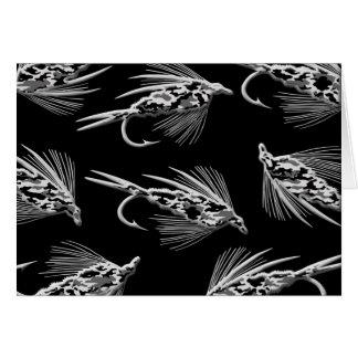 Modelo negro del señuelo de la pesca con mosca de  tarjetas