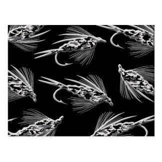 Modelo negro del señuelo de la pesca con mosca de  postal