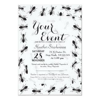 """Modelo negro divertido de las hormigas invitación 3.5"""" x 5"""""""