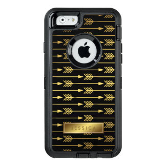Modelo negro e impreso elegante de las flechas del funda OtterBox defender para iPhone 6