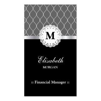 Modelo negro elegante del cordón del encargado tarjetas de visita