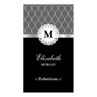 Modelo negro elegante del cordón del pediatra tarjetas de visita