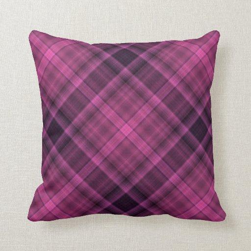 Modelo negro magenta de la tela escocesa cojines