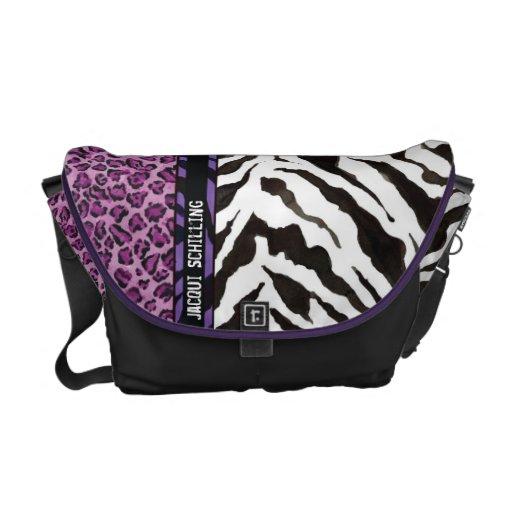 Modelo negro púrpura de la cebra del leopardo de l bolsa de mensajeria