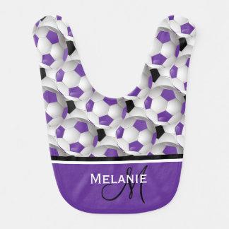 Modelo negro púrpura del balón de fútbol del babero de bebé
