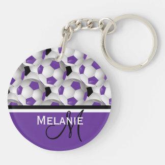 Modelo negro púrpura del balón de fútbol del llavero redondo acrílico a doble cara
