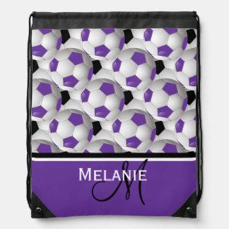 Modelo negro púrpura del balón de fútbol del mochila