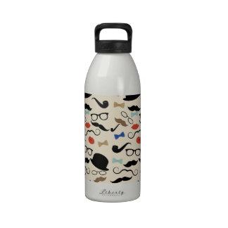 Modelo negro retro del bigote del manillar botellas de agua reutilizables