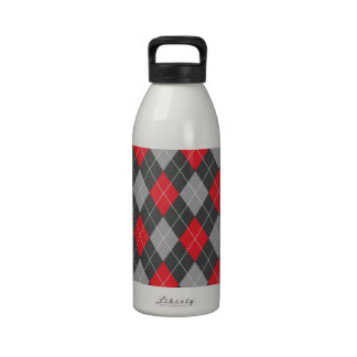 Modelo negro rojo del argyle botella de agua reutilizable