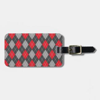 Modelo negro rojo del argyle etiqueta de maleta