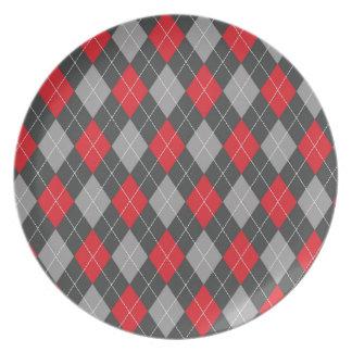 Modelo negro rojo del argyle platos de comidas