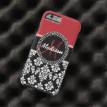 Modelo negro rojo del damasco, su monograma funda de iPhone 6 tough