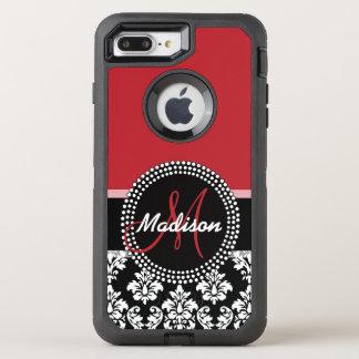 Modelo negro rojo del damasco, su monograma funda OtterBox defender para iPhone 7 plus