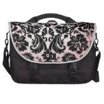 Modelo negro rosado bonito femenino del damasco de bolsas de ordenador
