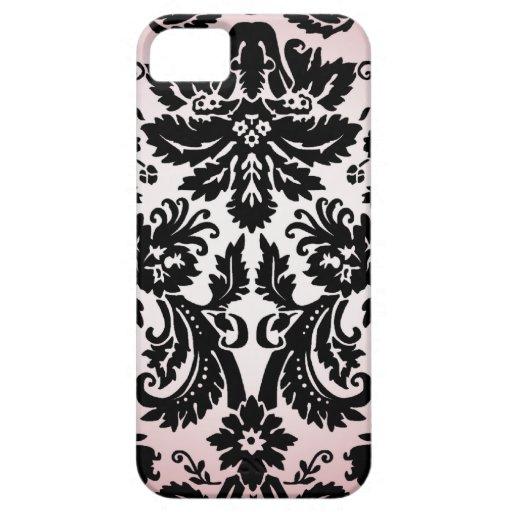Modelo negro rosado bonito femenino del damasco de iPhone 5 protectores