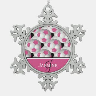 Modelo negro rosado del balón de fútbol del adorno de peltre en forma de copo de nieve