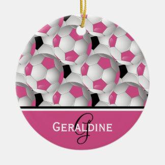 Modelo negro rosado del balón de fútbol del adorno navideño redondo de cerámica