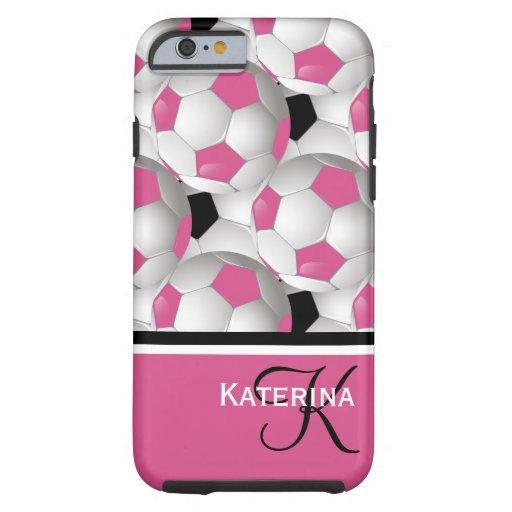 Modelo negro rosado del balón de fútbol del funda de iPhone 6 tough