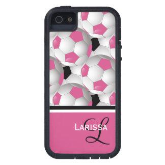 Modelo negro rosado del balón de fútbol del iPhone 5 fundas