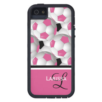 Modelo negro rosado del balón de fútbol del monogr iPhone 5 fundas