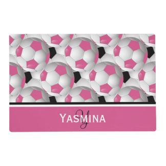 Modelo negro rosado del balón de fútbol del tapete individual