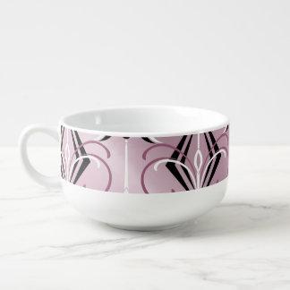 Modelo negro, rosado y blanco del art déco tazón para sopa