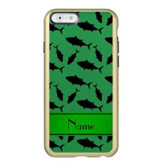 Modelo negro verde conocido personalizado del atún funda para iPhone 6 plus incipio feather shine