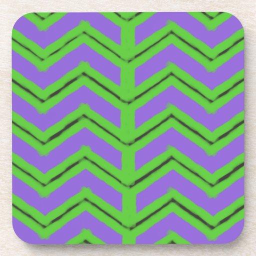 Modelo negro verde púrpura de Chevron del zigzag Posavasos
