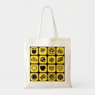 Modelo negro y amarillo de los cuadrados del bolsa tela barata