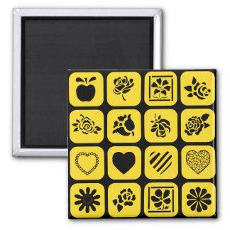 Modelo negro y amarillo de los cuadrados del imán cuadrado