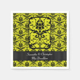 Modelo negro y amarillo del damasco servilleta de papel