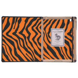 Modelo negro y anaranjado de la raya de la cebra iPad fundas