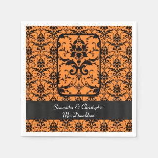 Modelo negro y anaranjado del damasco servilleta desechable