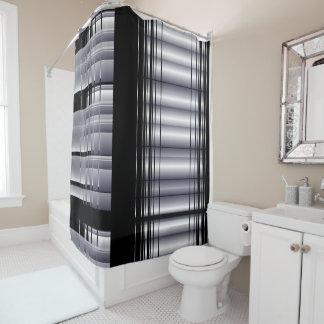 Modelo negro y azul cortina de baño
