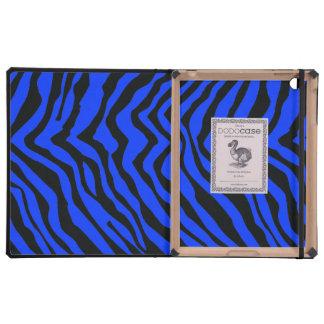 Modelo negro y azul de la raya de la cebra iPad protectores