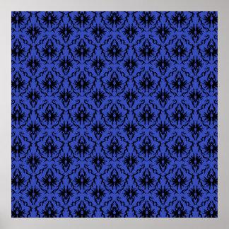 Modelo negro y azul del diseño del damasco posters