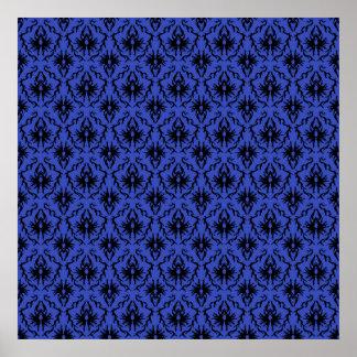 Modelo negro y azul del diseño del damasco poster