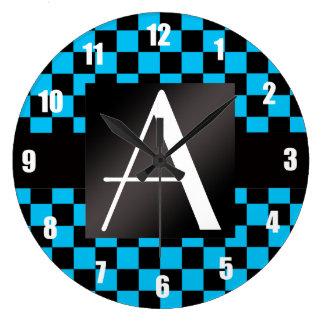 Modelo negro y azul del monograma de los inspector reloj de pared