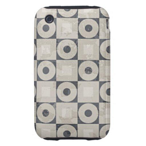 Modelo negro y beige del cuadrado del círculo tough iPhone 3 carcasas