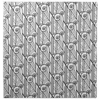 Modelo negro y blanco del art déco servilletas imprimidas